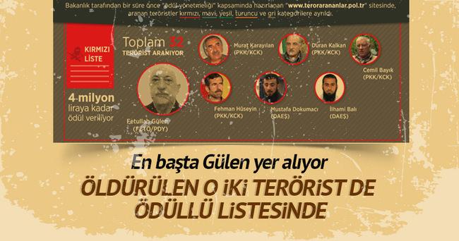 Öldürülen 2 terörist ödüllü listeden çıktı