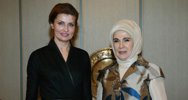 Emine Erdoğan, Maryna Poroşenko ile görüştü