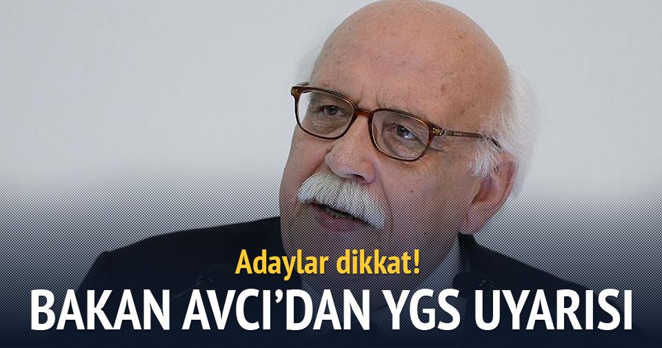 Milli Eğitim Bakanı Avcı'dan YGS mesajı