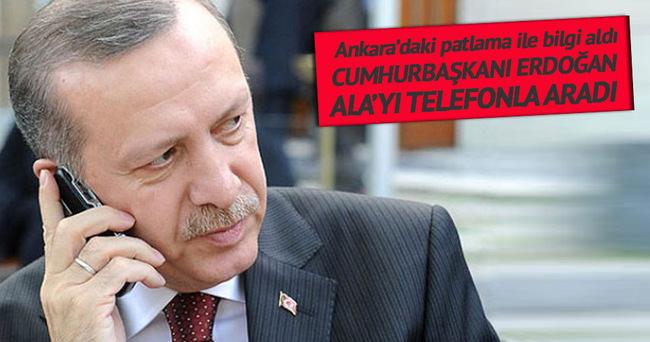 Cumhurbaşkanı Erdoğan patlama ile ilgili Efkan Ala'dan bilgi aldı