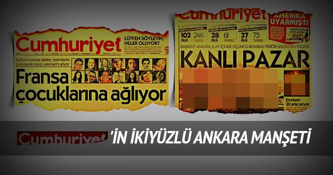 Cumhuriyet'in ikiyüzlü Ankara manşeti