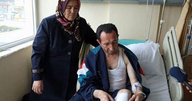 Kahraman şoför yaralı halde yolculara yardım etti