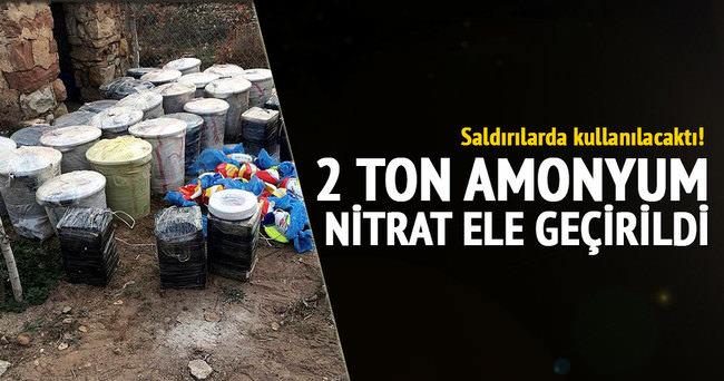 2 ton amonyum nitrat ele geçirildi!