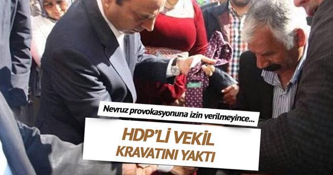 Polise kızan HDP'li vekil kravatını yaktı