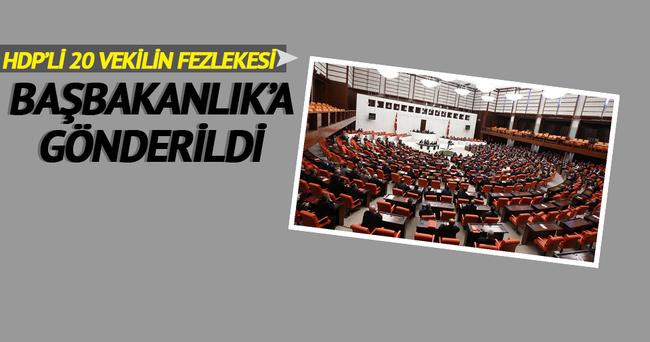 HDP'li 20 vekilin fezlekesi Başbakanlık'a gönderildi