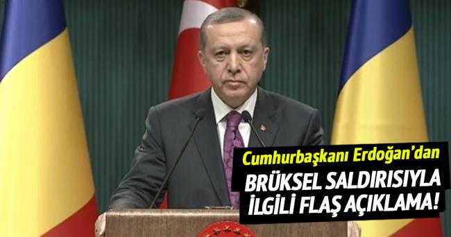 Cumhurbaşkanı Erdoğan'dan Brüksel'deki saldırıyla ilgili flaş açıklama!