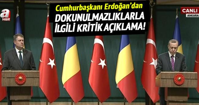 Cumhurbaşkanı Erdoğan'dan dokunulmazlıklarla ilgili kritik açıklama