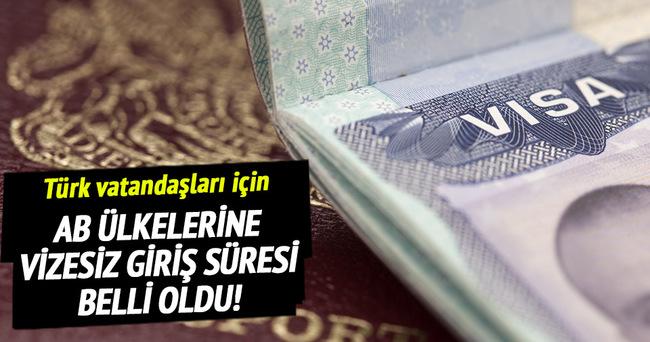 AB ülkelerine vizesiz girişte süre belli oldu!