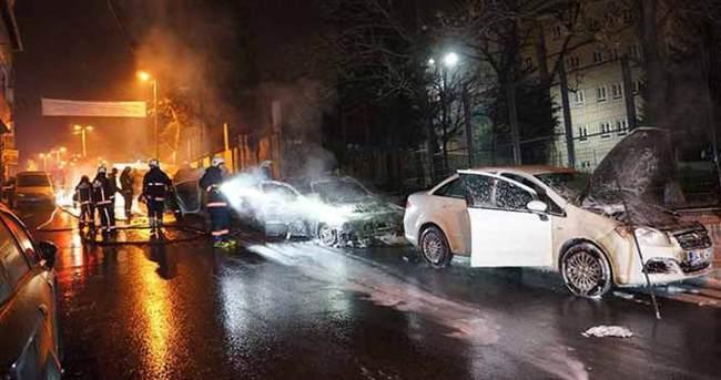 Kağıthane'de 5 araç kundaklandı