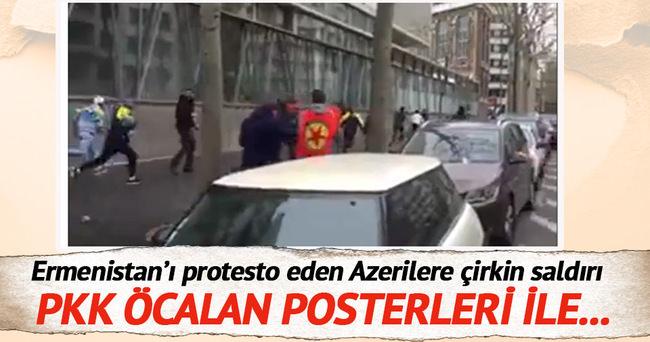 PKK'lılar Ermenistan'ı protesto eden Azerilere saldırdı