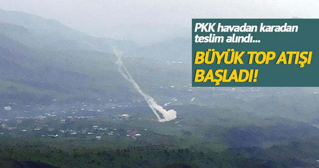 PKK'nın sığınakları toplarla vuruluyor!