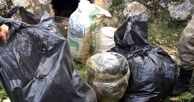 Lice'de mağarada 93 kilo esrar ele geçirildi