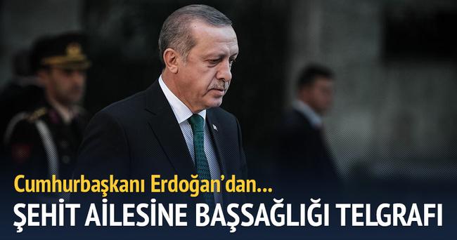 Cumhurbaşkanı Erdoğan'dan şehit ailesine başsağlığı telgrafı