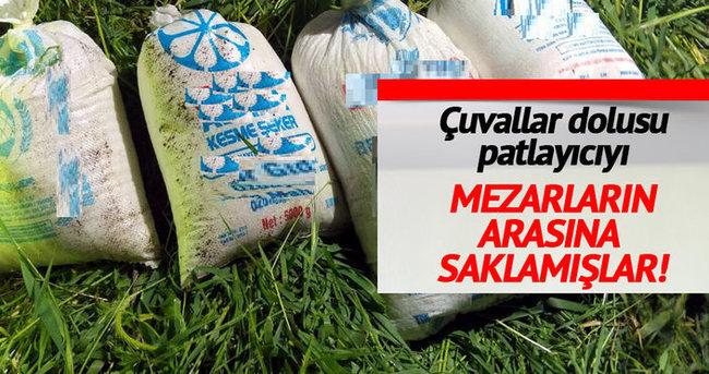 Siirt'te mezarlıkta patlayıcı yapımında kullanılan malzemeler ele geçti
