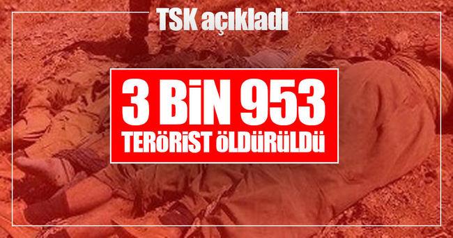 Temmuz'dan beri 3 bin 953 terörist öldürüldü