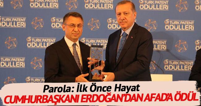 Cumhurbaşkanı Erdoğan'dan AFAD'a ödül