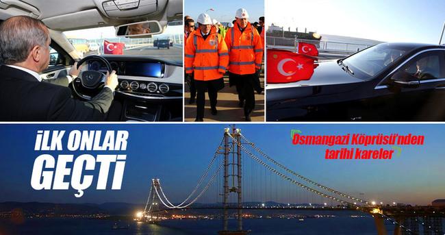 Erdoğan ve Davutoğlu Osman Gazi Köprüsü'nden geçti