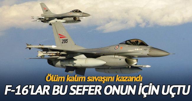 F-16 savaş uçağı bu sefer yaşam kurtarmak için uçtu