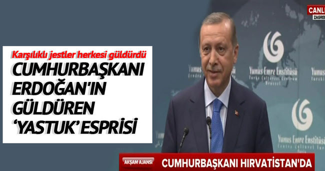Cumhurbaşkanı Erdoğan'ın güldüren yastuk espirisi