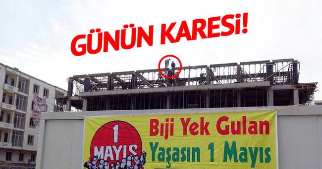 İnşaat işçileri 1 Mayıs'ı çalışarak geçirdi!