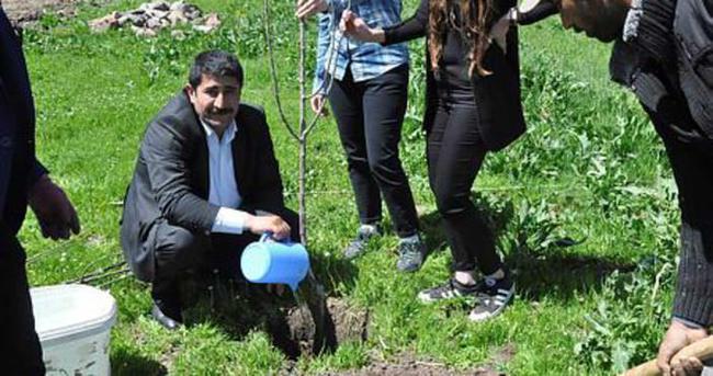Patnos'ta 400 elma fidanı dikildi