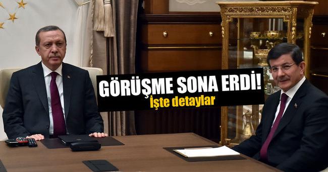 Cumhurbaşkanı Erdoğan Başbakan Davutoğlu görüşmesi sona erdi