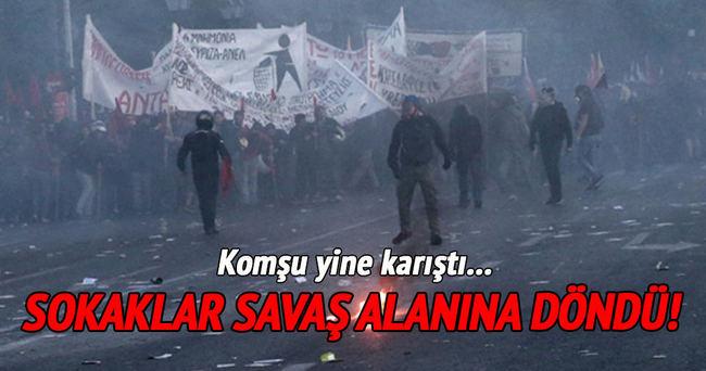 Yunanistan'da polis ve göstericiler çatıştı!