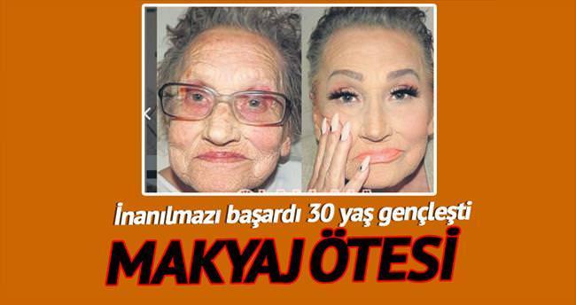 Büyükannesini makyajla 30 yaş gençleştirdi