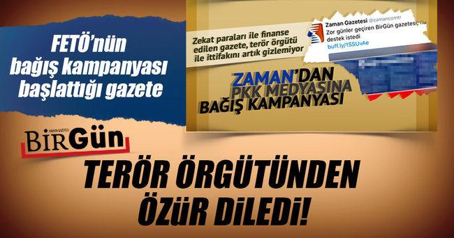 FETÖ'nün bağış kampanyası başlattığı BirGün PKK'dan özür diledi