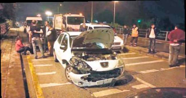 8 aracın karıştığı trafik kazasında yaralanan olmadı