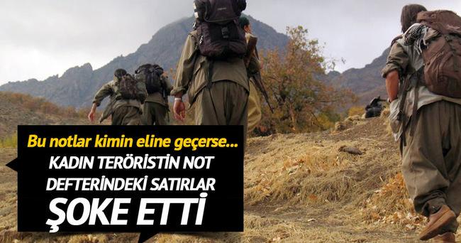 Teröristin not defterindeki pişmanlık satırları