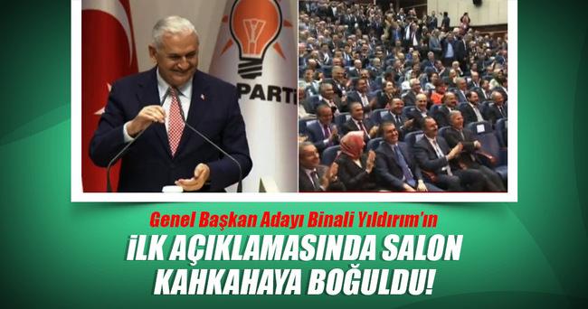 Genel başkan adayı Binali Yıldırım ilk konuşmasında partilileri güldürdü