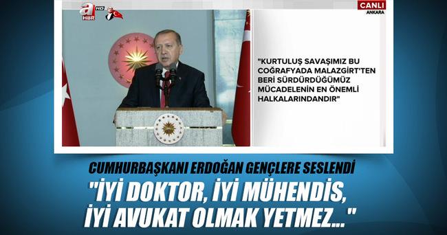 Cumhurbaşkanı Erdoğan, 19 Mayıs resepsiyonunda gençlere hitap etti