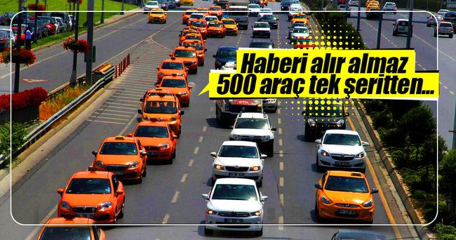 Taksicilerden 'Binali Yıldırım' konvoyu
