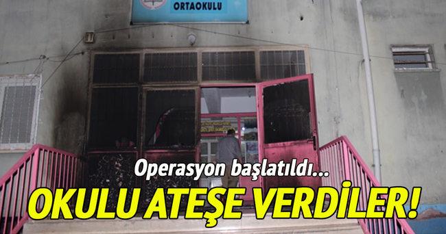 Diyarbakır'da teröristler okulu ateşe verdi!