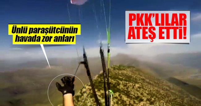 Yamaç paraşütçülerine PKK kurşunu kamerada