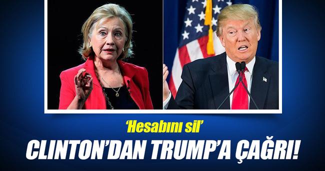 Clinton'dan, Trump'a Hesabını sil çağrısı!