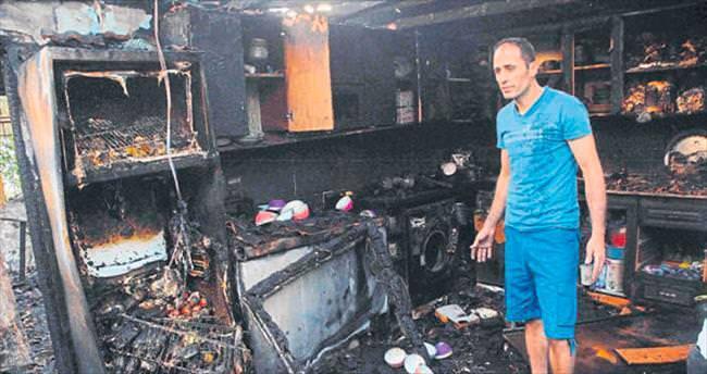 Canını kurtardı eşyaları yandı