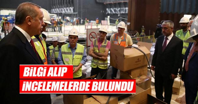 Erdoğan Kongre Merkezi inşaatında incelemelerde bulundu