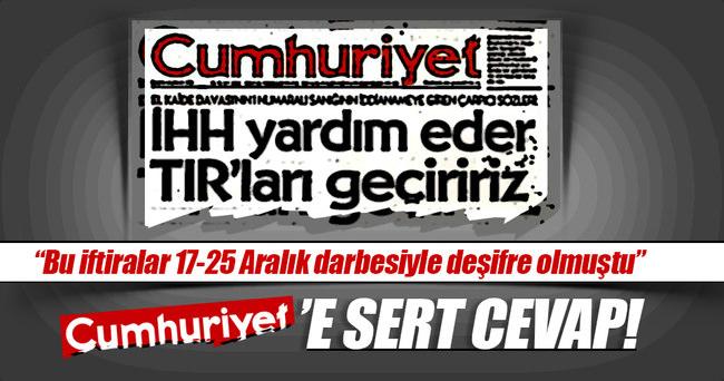 Cumhuriyet'in manşetine İHH'dan sert yanıt