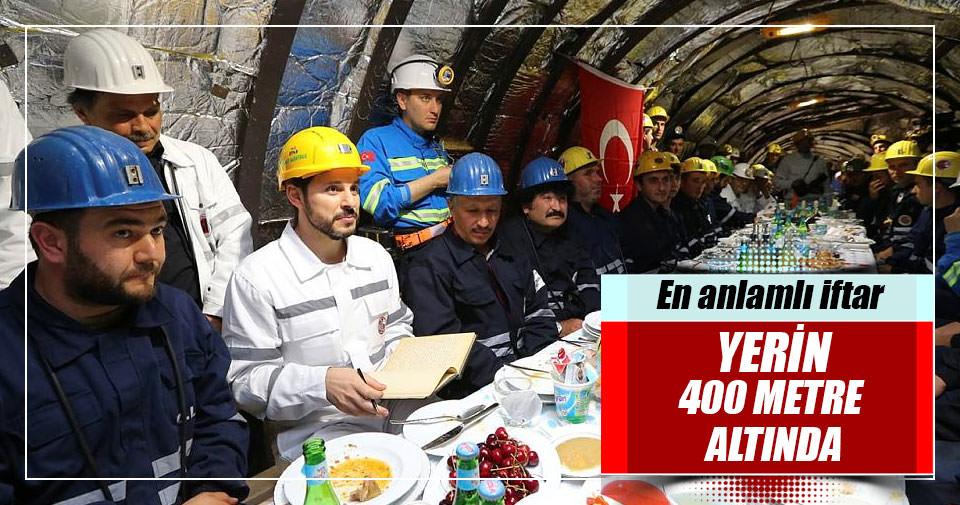 Başbakan yerin 400 metre altında madencilerle birlikte iftar yaptı