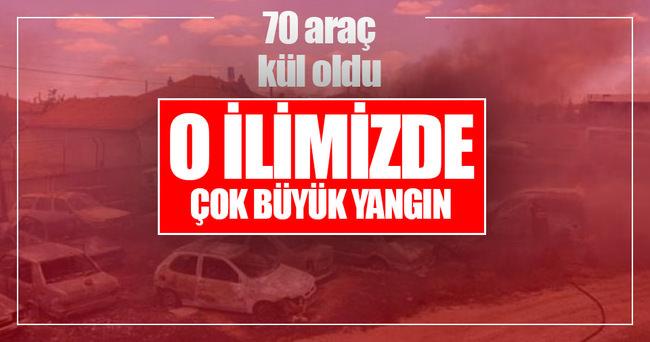Konya'da büyük yangın! 70 araç kül oldu
