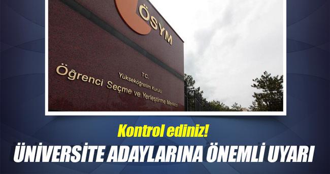 ÖSYM'den üniversite adaylarına uyarı