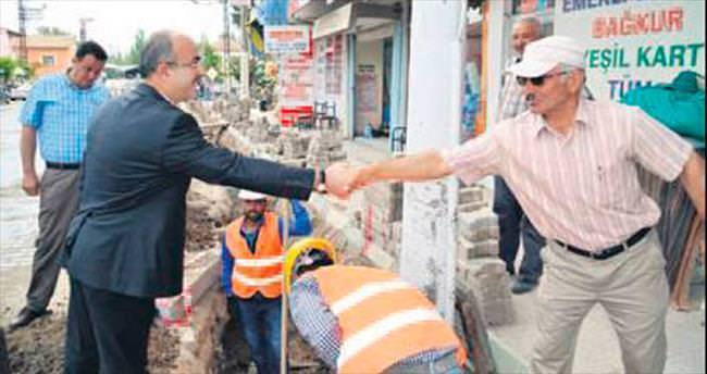 Bünyan'da kablolar yeraltına alınıyor
