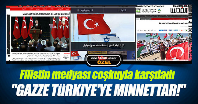 Filistin'de Türkiye'ye minnet manşetleri