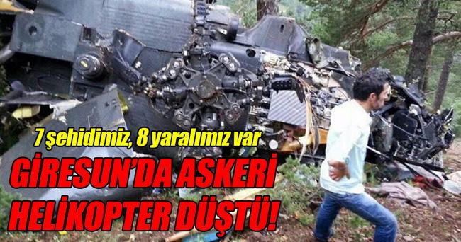 Giresun'da askeri helikopter düştü!