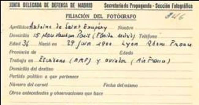 'Küçük Prens'in yazarının basın kartı ortaya çıktı
