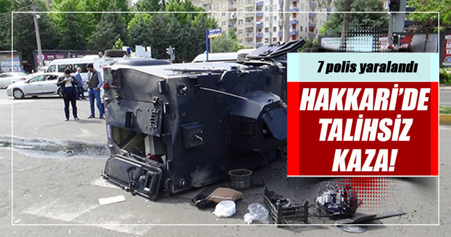 Zırhlı polis aracı takla attı: 7 polis yaralı!