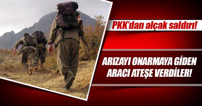 PKK'lı teröristler elektrik arıza aracını yaktı!