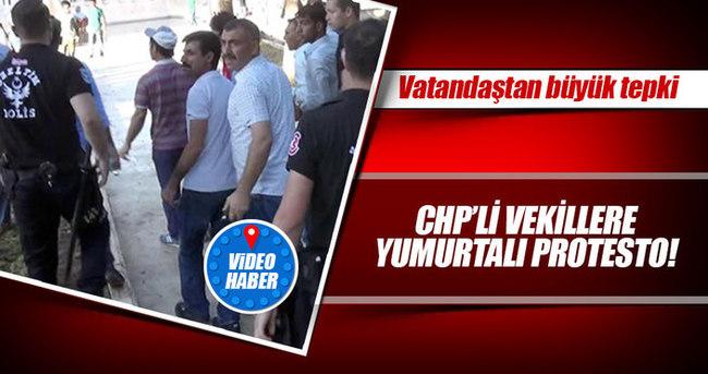 CHP'li vekillere yumurtalı protesto